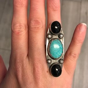 Turquoise, onyx and sterling silver ring